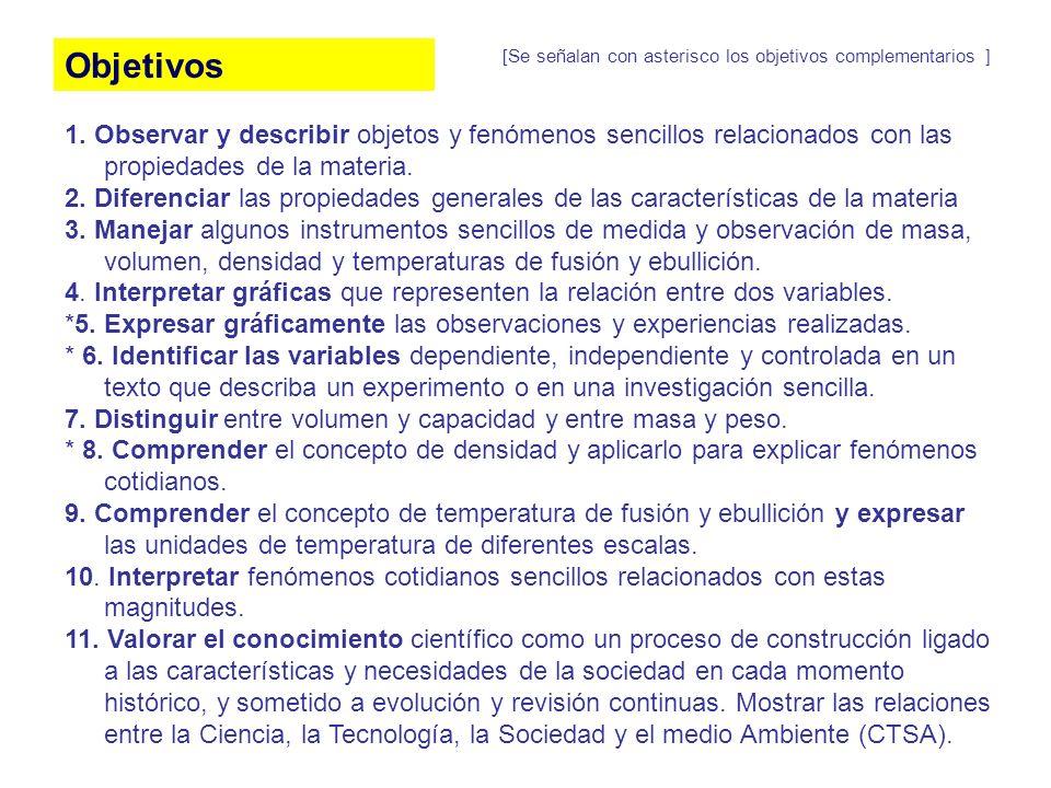 Objetivos [Se señalan con asterisco los objetivos complementarios ]